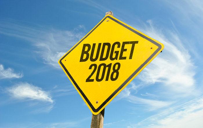 Road sign saying Budget 2018